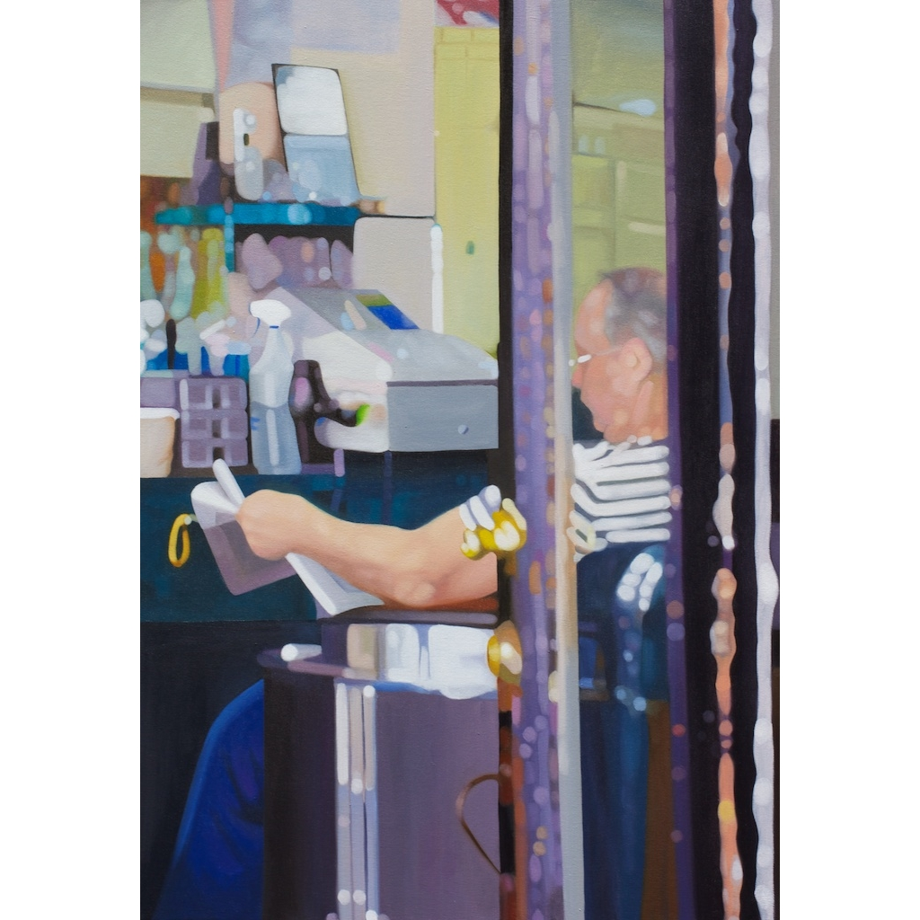 Oil painting on canvas by Katrie Bonanno of man reading newspaper in barber shop on east village