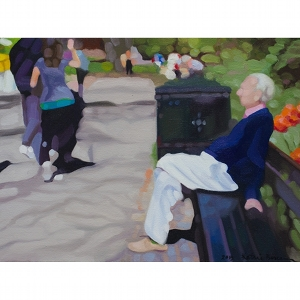 image: oil on canvas painting of man sitting on bench - the observer - by artist Katrie Bonanno