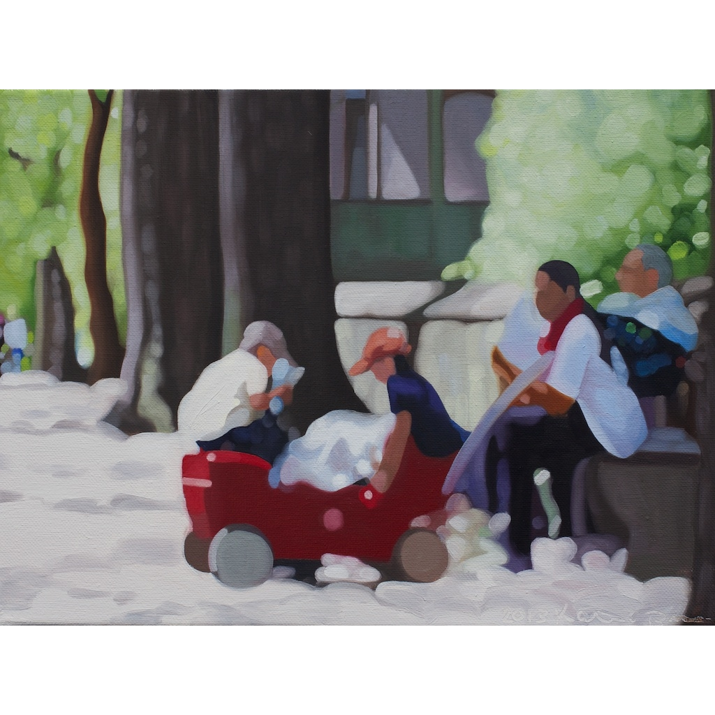 oil on canvas painting of Relaxing in my Radio Flyer
