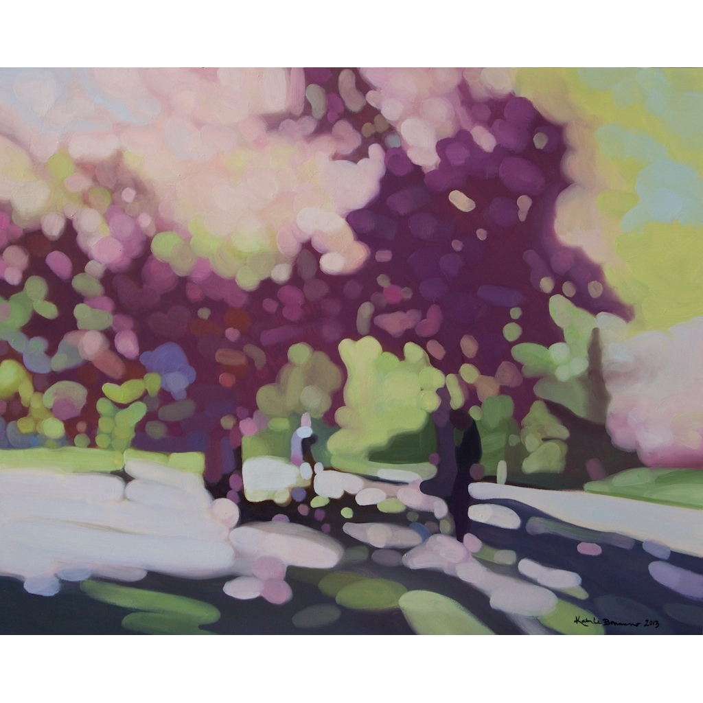 photo: oil on canvas painting by artist Katrie Bonanno of springtime in Central Park Springtime in Central Park