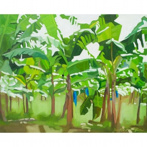 image: oil on masonite painting by artist Katrie Bonanno of banana trees in St. Lucia in the Caribbean