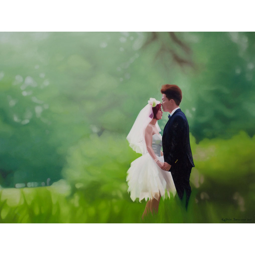 photo: oil on masonite couple wedding portrait painting by artist Katrie Bonanno Jiyun and Hanseul
