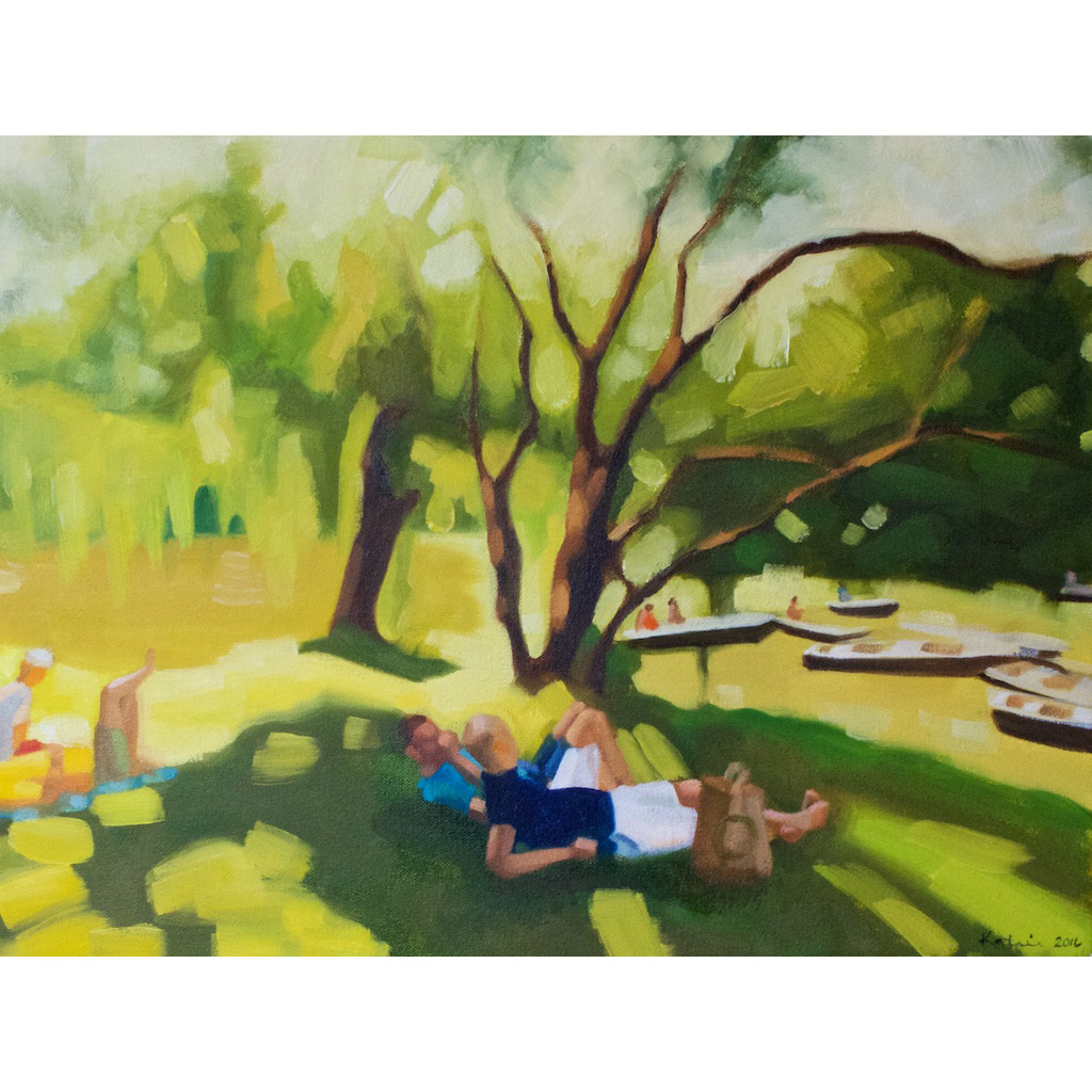 photo: oil on canvas painting by artist Katrie Bonanno of people relaxing watching boaters in central park boathouse in New York City Passing Time