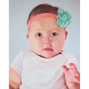 image: oil on masonite painting by artist Katrie Bonanno of six month old baby girl