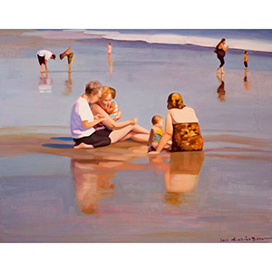 image: oil on canvas mounted on masonite painting by artist Katrie Bonanno of people at the beach at dusk