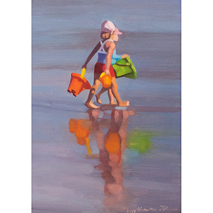 image: oil on masonite painting by artist Katrie Bonanno of two children on the beach with their reflections in the water