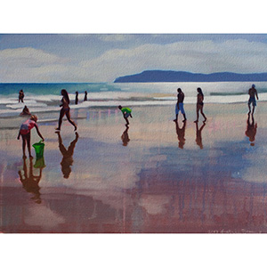 image: oil on canvas painting by artist Katrie Bonanno of beach scene just before dark