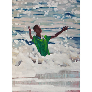 image: oil on canvas painting by artist Katrie Bonanno of swimmer falling into the wave