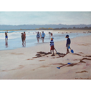 image: oil on canvas painting by artist Katrie Bonanno of beach scene
