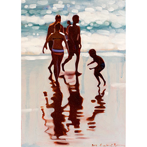 image: small oil painting on masonite board of a beach scene with people near the ocean.