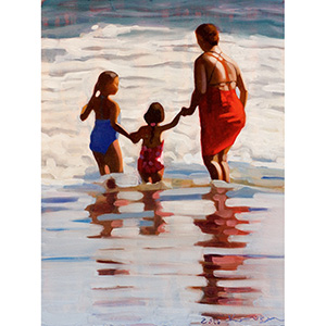 image: small oil painting on masonite board by artist Katrie Bonanno of a beach scene of three people by the ocean.