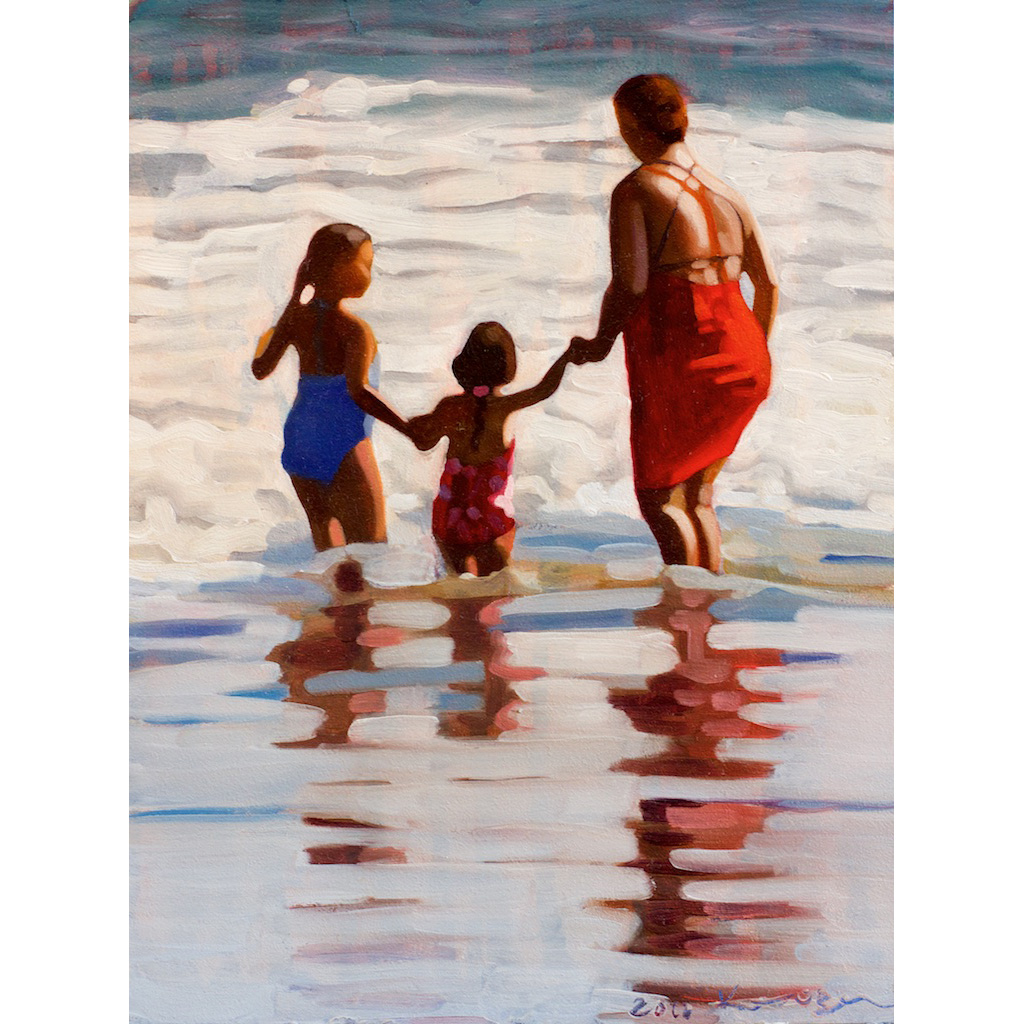 photo: small oil painting on masonite board by artist Katrie Bonanno of a beach scene of three people by the ocean. Trio