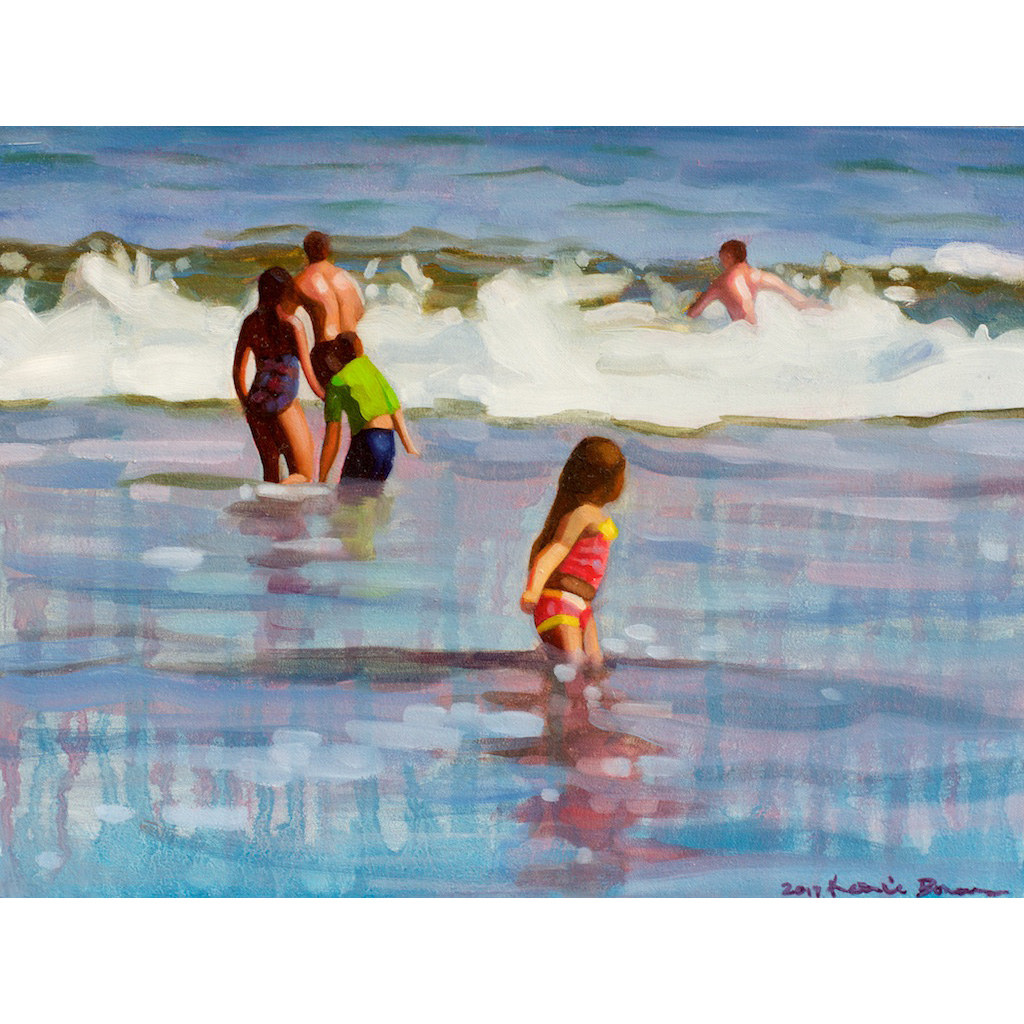 photo: oil painting on masonite board by artist Katrie Bonanno of beach scene with several people in the ocean Anticipation