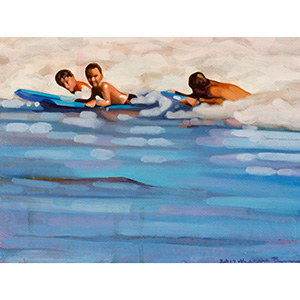 image: oil painting on masonite board by artist Katrie Bonanno of a beach scene with surfers riding the wave