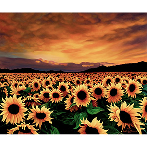 image: oil painting commission on masonite board of sunset over field of sunflowers  by artist Katrie Bonanno