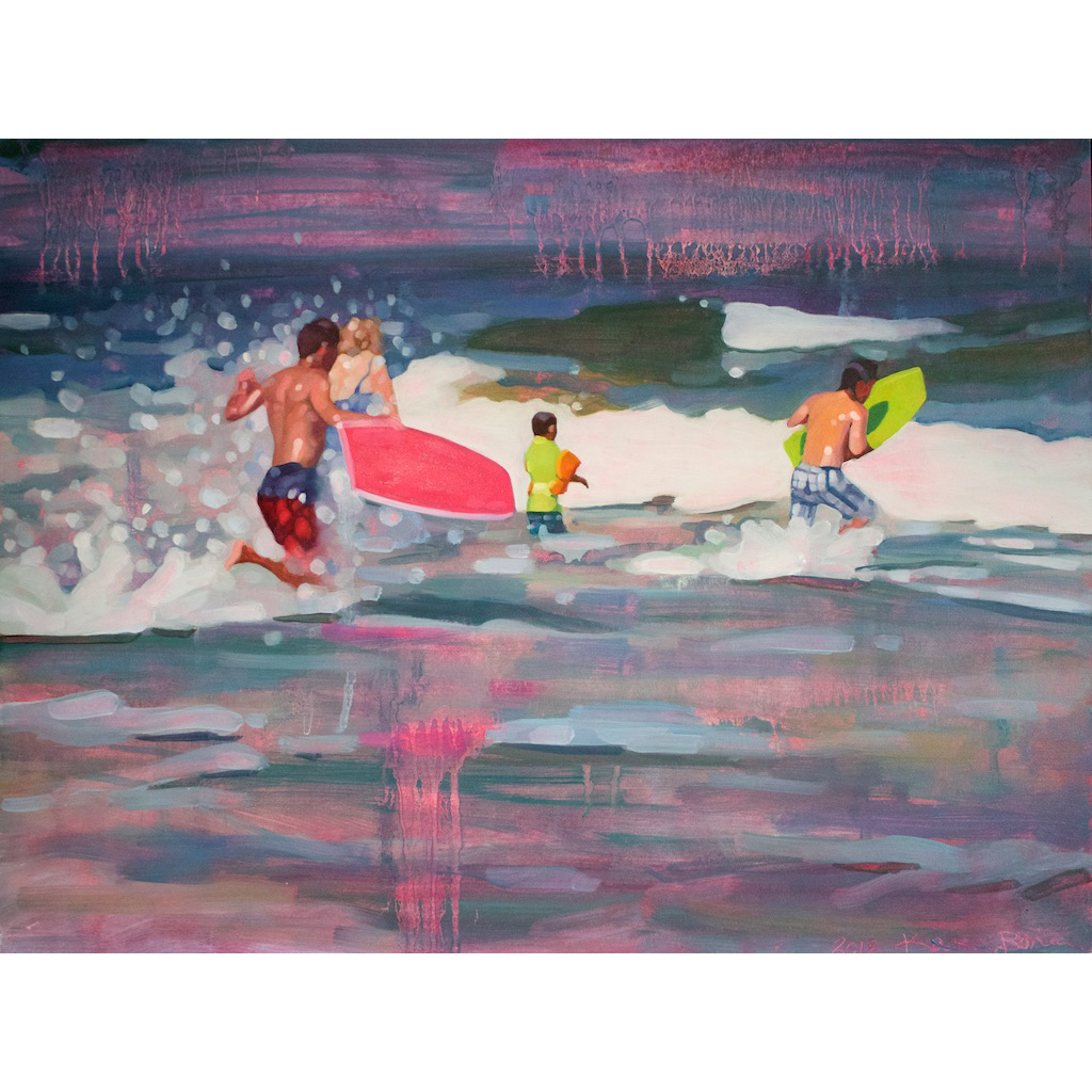 photo: oil on masonite painting of surfers in the ocean by artist Katrie Bonanno Jumping In