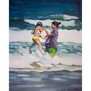 image: oil on masonite painting of two people jumping in the wave in the ocean by artist Katrie Bonanno