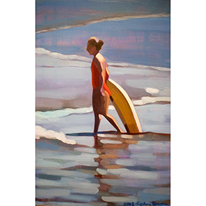 image: oil on masonite painting of surfer girl in the ocean by artist Katrie Bonanno