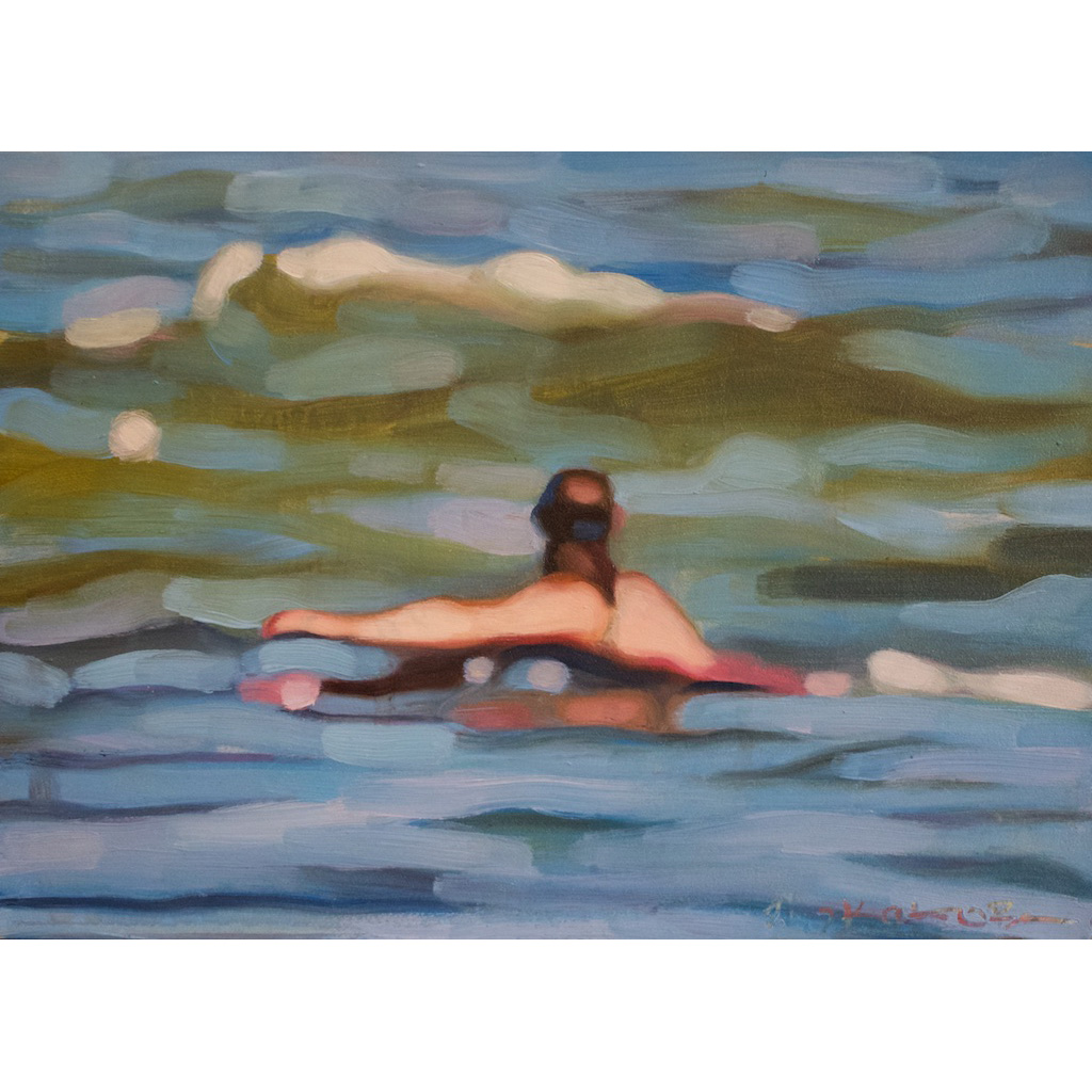photo: oil on masonite painting of a swimmer in the ocean by artist Katrie Bonanno Swimmer