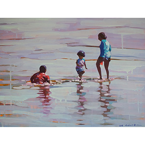 image: oil on masonite painting of three people in the ocean by artist Katrie Bonanno