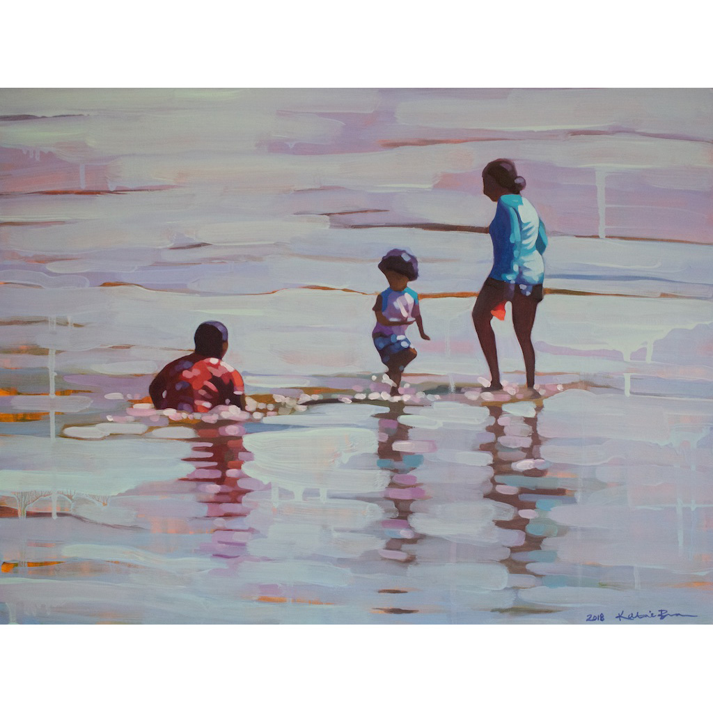 photo: oil on masonite painting of three people in the ocean by artist Katrie Bonanno Wading half past noon