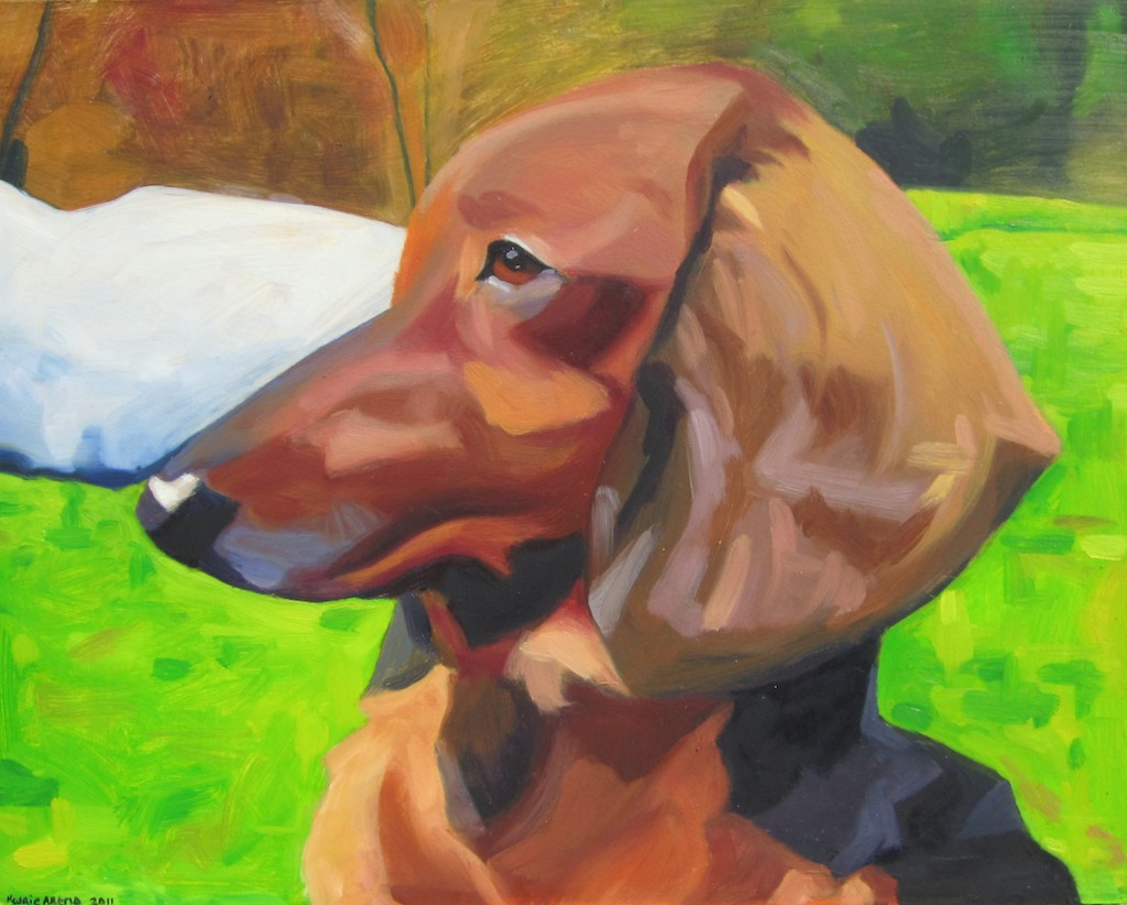 oil painting of Seymour dog by fine artist katrie bonanno