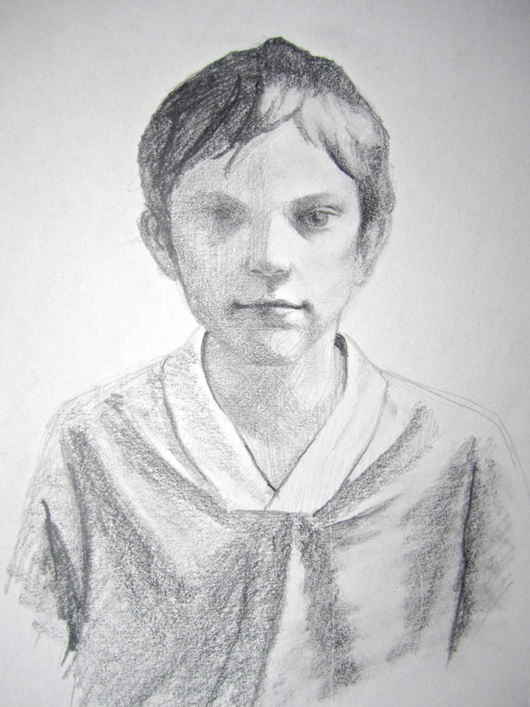 photo: Pencil on paper drawing by Hudson Valley NY artist Katrie Arena.  Her nephew John Paul.  Drawn in 2007. Portrait of John Paul