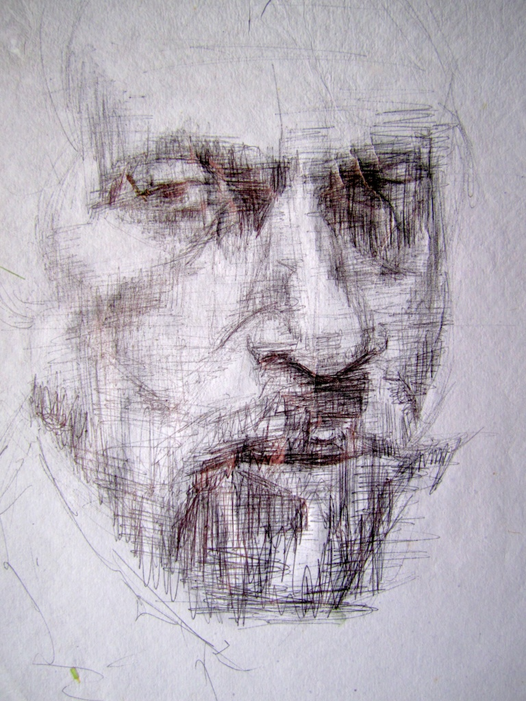 photo: Pen on handmade paper drawing by Hudson Valley NY artist Katrie Arena.  Portrait of man face with goatee.  Drawn in 2001. Portrait of a man