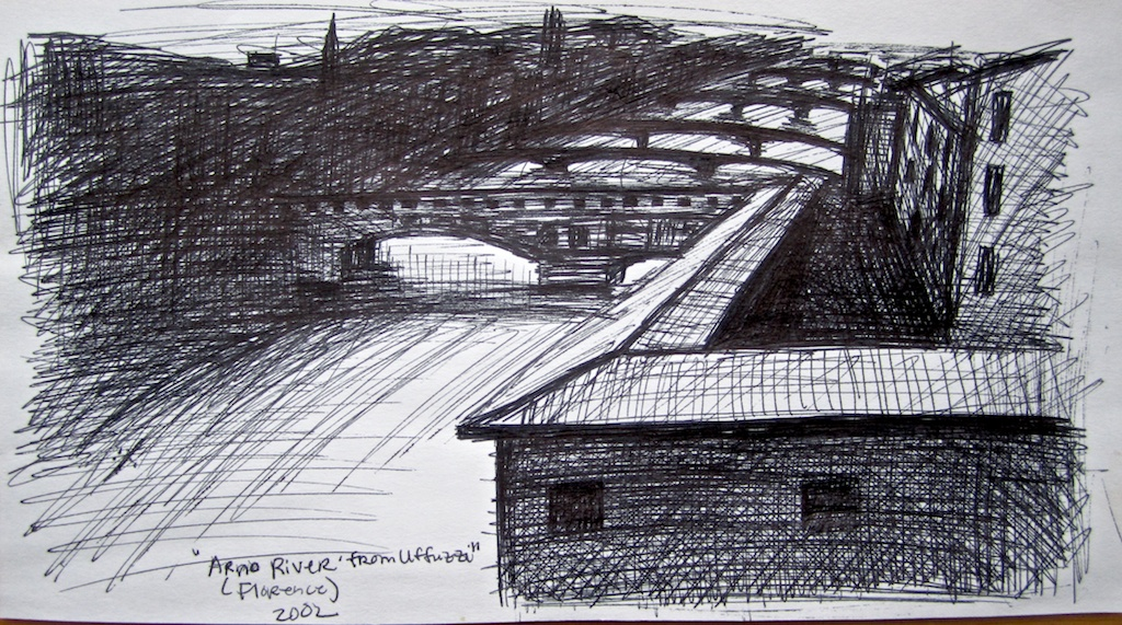 photo: Pen on paper drawing by Hudson Valley NY artist Katrie Arena.  View of the Arno River from the Uffizzi in Florence, Italy.  Drawn in 2002. Florence: Arno from Uffizzi