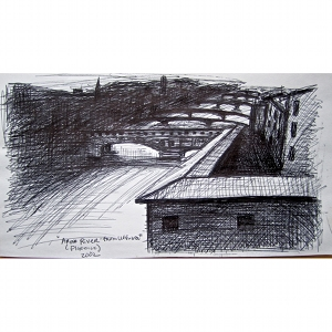 image: Pen on paper drawing by Hudson Valley NY artist Katrie Arena.  View of the Arno River from the Uffizzi in Florence, Italy.  Drawn in 2002.