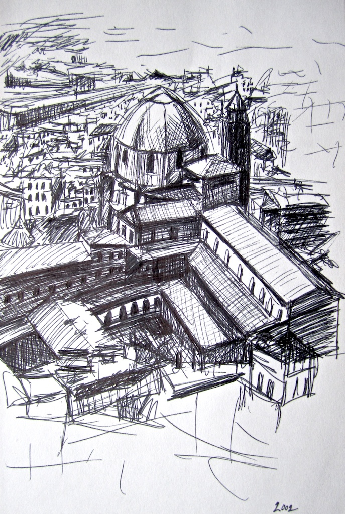 photo: Pen on paper drawing by Hudson Valley NY artist Katrie Arena.  The Duomo in Florence, Italy.  Drawn in 2002. Florence: Duomo