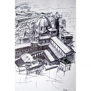 image: Pen on paper drawing by Hudson Valley NY artist Katrie Arena.  The Duomo in Florence, Italy.  Drawn in 2002.