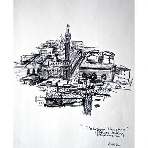 image: Pen on paper drawing by Hudson Valley NY artist Katrie Arena.  The Palazzo Vecchio in Florence, Italy.  Drawn in 2002.