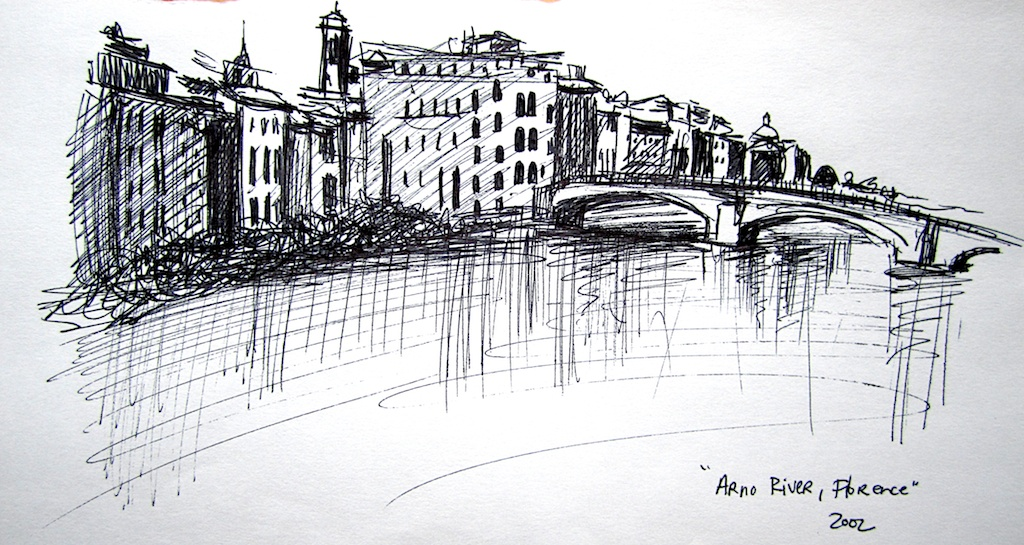 photo: Pen on paper drawing by Hudson Valley NY artist Katrie Arena.  View of the Arno River in Florence, Italy.  Drawn in 2002. Florence: Arno River