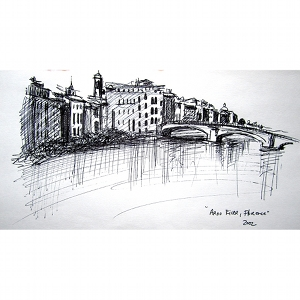 image: Pen on paper drawing by Hudson Valley NY artist Katrie Arena.  View of the Arno River in Florence, Italy.  Drawn in 2002.