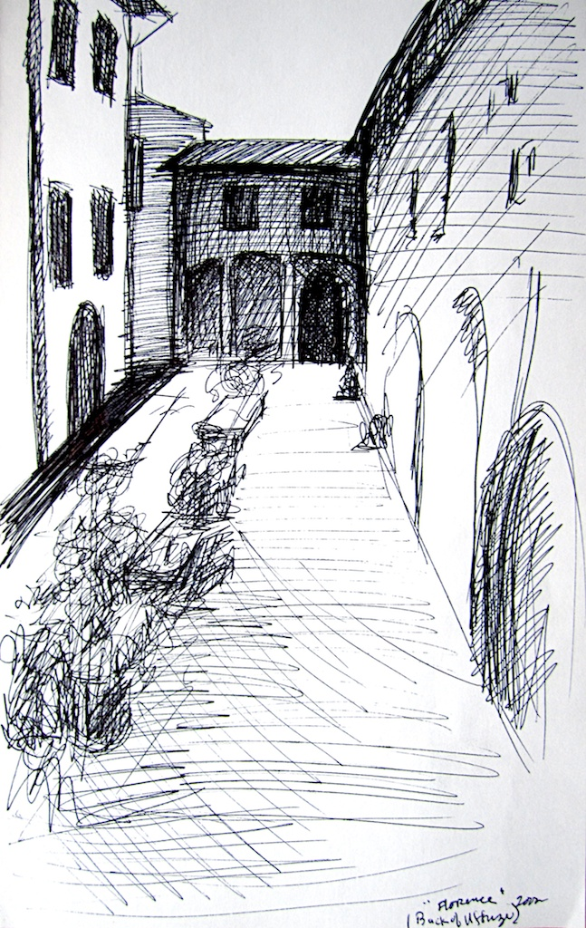 photo: Pen on paper drawing by Hudson Valley NY artist Katrie Arena.  Back of Uffizzi in Florence, Italy.  Drawn in 2002. Florence: Back of Uffizzi