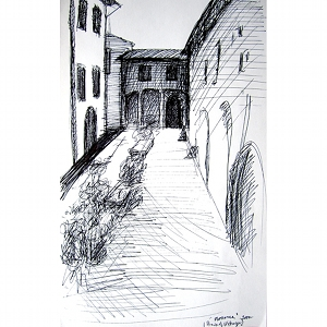 image: Pen on paper drawing by Hudson Valley NY artist Katrie Arena.  Back of Uffizzi in Florence, Italy.  Drawn in 2002.