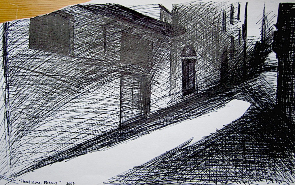 photo: Pen on paper drawing by Hudson Valley NY artist Katrie Arena.  Street scene in Florence, Italy.  Drawn in 2002. Florence: Street scene