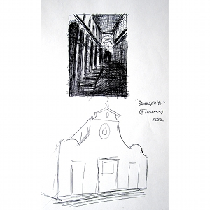 image: Pen on paper drawing by Hudson Valley NY artist Katrie Arena.  View of the exterior and interior of the Santo Spirito church in Florence, Italy.  Drawn in 2002.