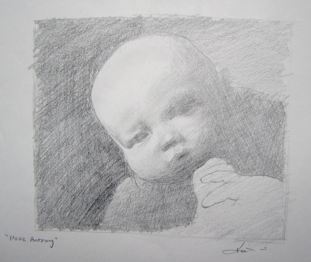 photo: Pencil on paper drawing by Hudson Valley NY artist Katrie Arena.  Katries nephew Marc Antony as a baby.  Drawn in 2002. Marc Antony