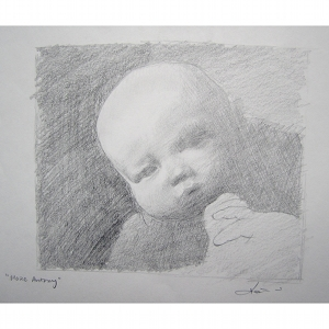 image: Pencil on paper drawing by Hudson Valley NY artist Katrie Arena.  Katries nephew Marc Antony as a baby.  Drawn in 2002.
