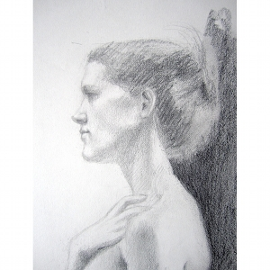 image: Pencil on paper drawing by Hudson Valley NY artist Katrie Arena.  Portrait of a woman.  Drawn in 2001.