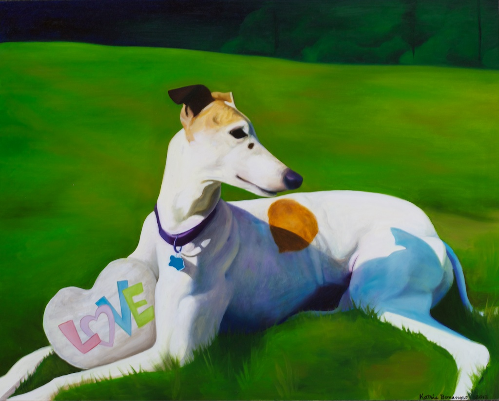 oil painting of dog named lotus by artist katrie bonanno