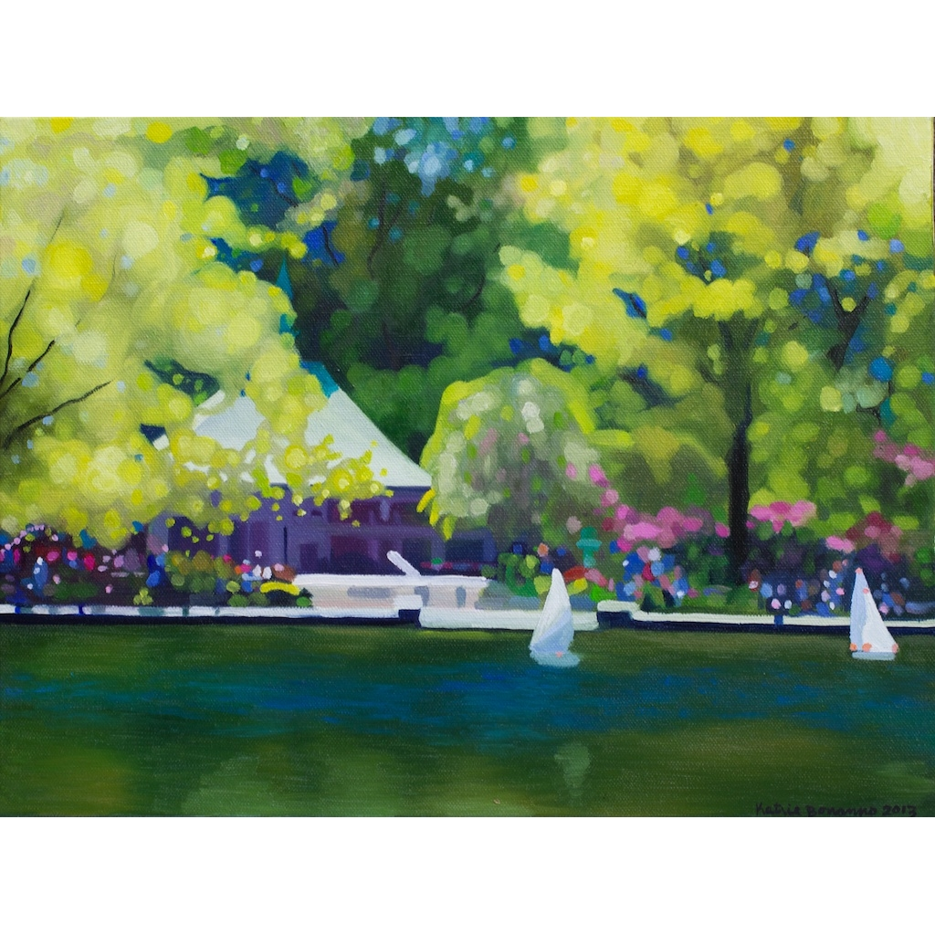 oil on canvas painting of conservatory water II by artist katrie bonanno