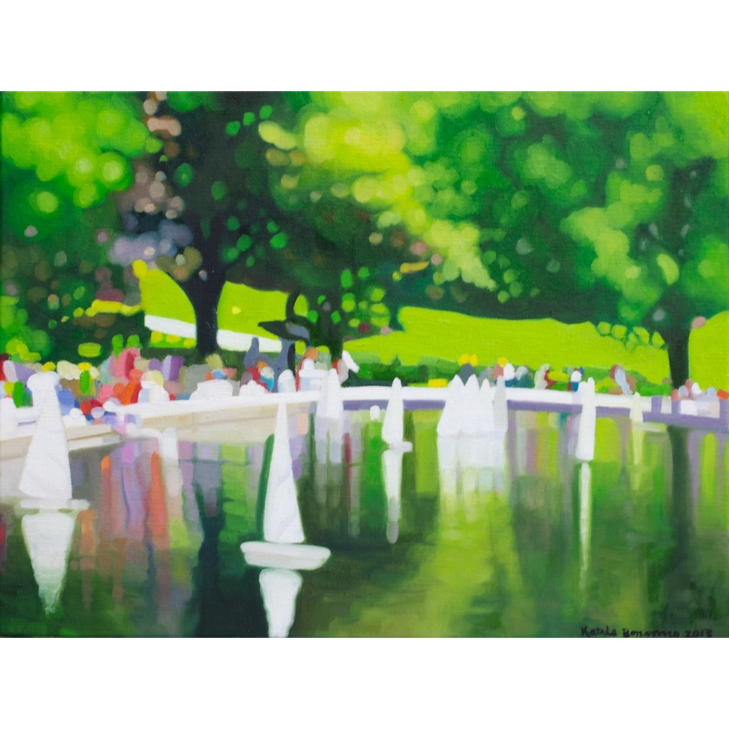 oil on canvas painting of conservatory water III by Katrie Bonanno