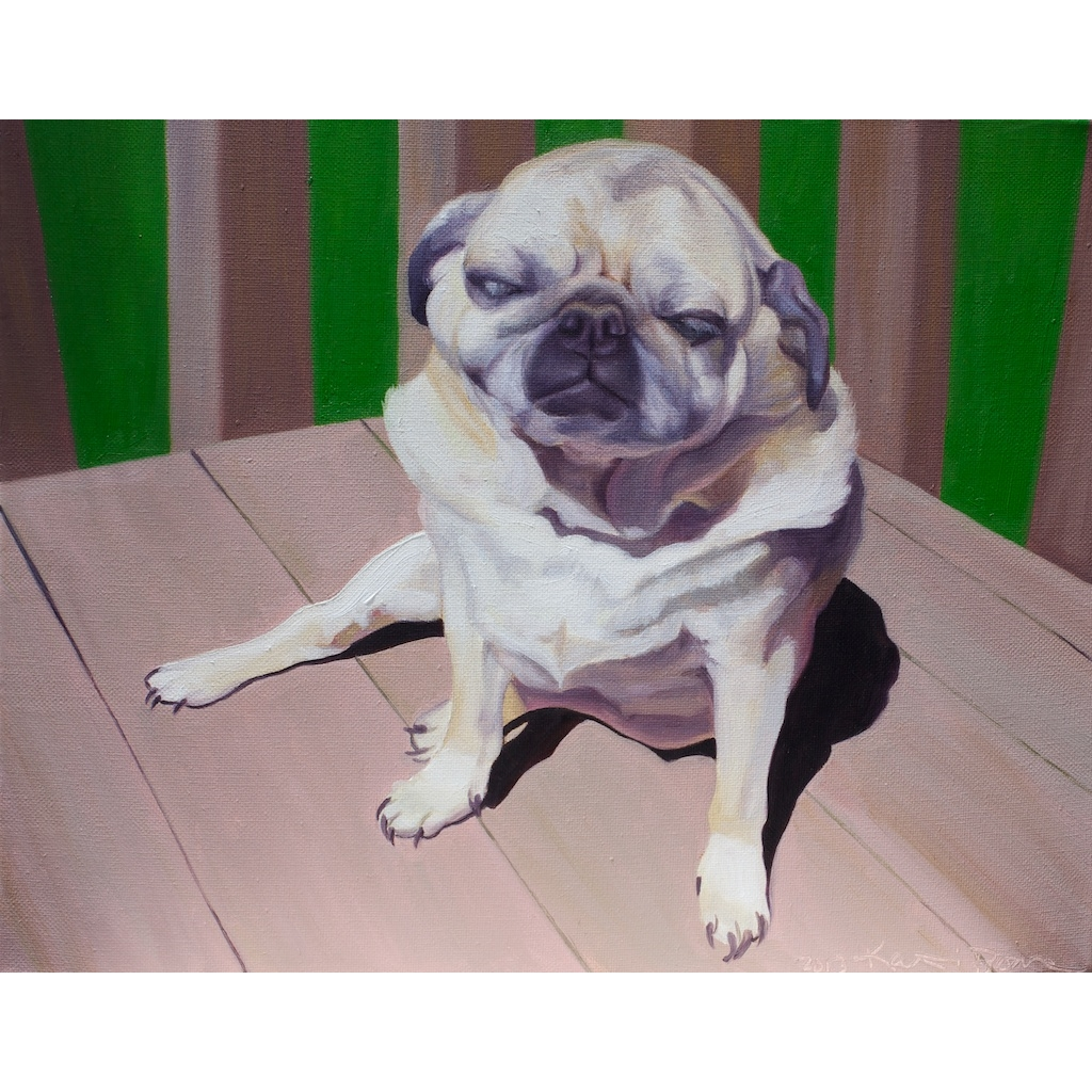 oil painting of Pug dog by artist katrie bonanno