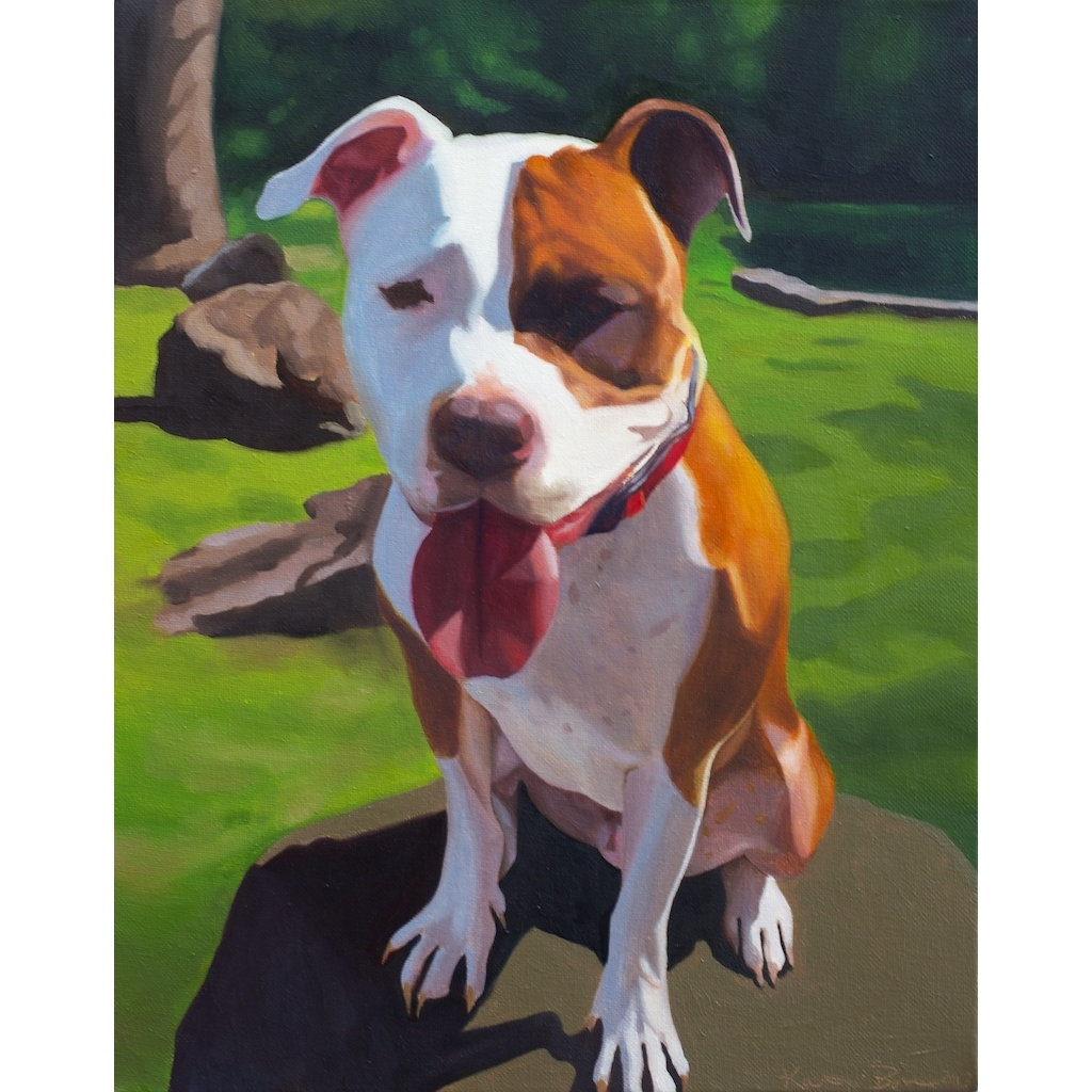 oil portrait of pitbull dog by artist katrie bonanno