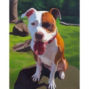 image: Pet portrait oil painting of dog named Bogie, a pitbull, painted by artist Katrie Bonanno.