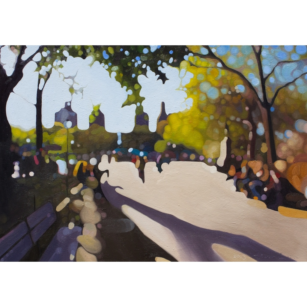 oil painting on canvas of washington square park by artist katrie bonanno