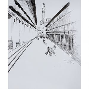 image: pen on paper drawing of the Uffizi Gallery in Florence Italy by artist Katrie Bonanno.
